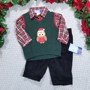 Goodlad baby boy Christmas holiday owl vest outfit